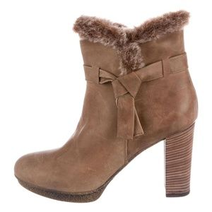 Aquatalia Shearling Trimmed Round Toe Ankle Boots